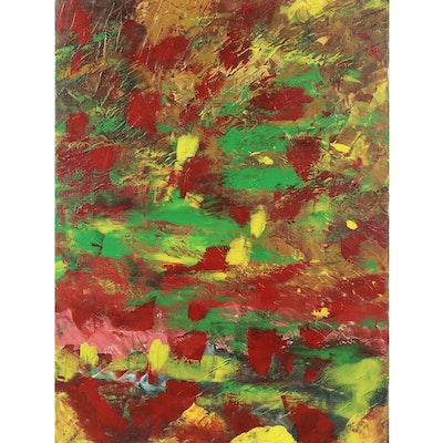 """Saul Gefen Acrylic Painting """"Colorful Breeze,"""" 2021"""