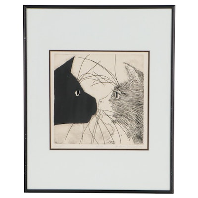 """James Maxwell Etching """"Sniffs,"""" 1985"""