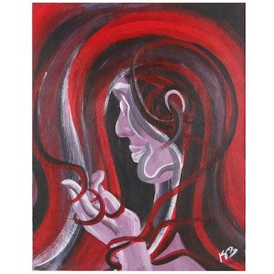 "Kris Stolzenburg Oil Painting ""Self Portrait in Dreams,"" 1999"