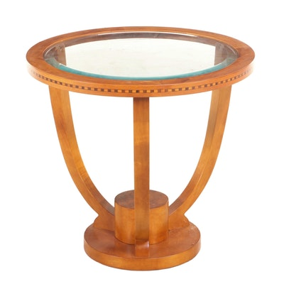 Biedermeier Style Veneered, Banded Inlay and Glass Top Side Table