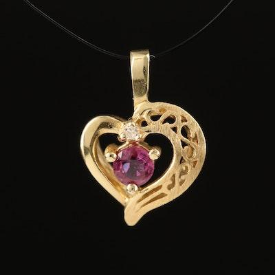 14K Ruby and Diamond Heart Pendant
