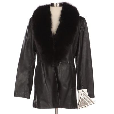 Marvin Richards Black Leather Jacket with Saga Fox Fur Trim