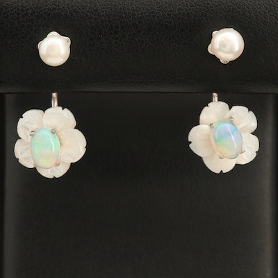 Sterling Pearl Stud Earrings with Opal and Mother of Pearl Flower Enhancer