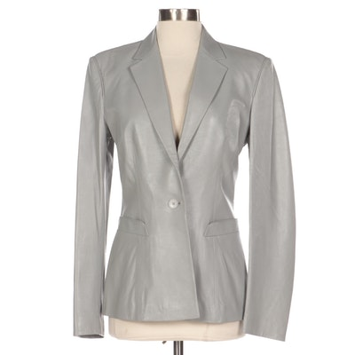 Richard Tyler Collection Grey Leather Single-Breasted Jacket