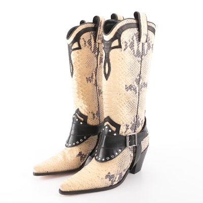 Diego di Lucca Python Effect Cowboy Boots