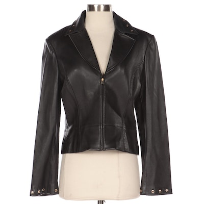 St. John Collection Black Leather Jacket with Grommet Detailing