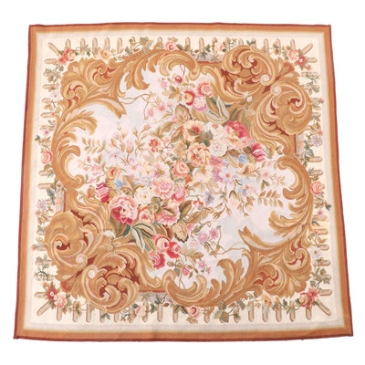 5'11 x 6'1 Handwoven French Style Floral Area Rug