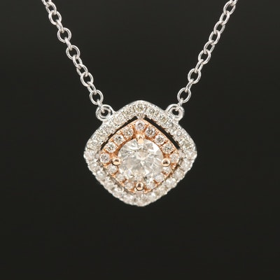 14K 0.55 CTW Diamond Double Halo Necklace