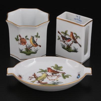 "Herend ""Rothschild Bird"" Porcelain Ashtray, Matchbox Cover, and Votive Holder"