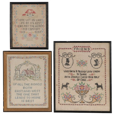 Handmade Cross-Stitch Needlework Panels in Frames, Mid to Late 20th Century