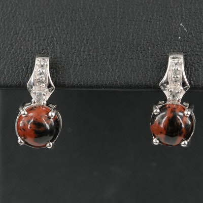 Sterling Silver with  Mahogany Obsidian and White Topaz Drop Earrings
