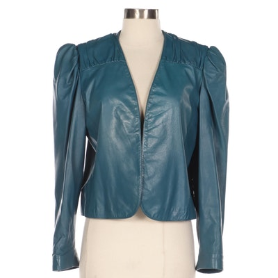 Fendi Pleated Yoke Blue Leather Jacket