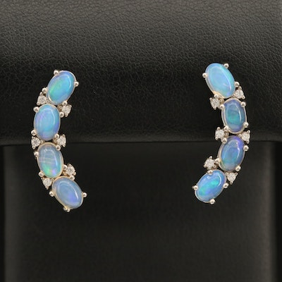 Sterling Opal and Cubic Zirconia Curved Drop Earrings