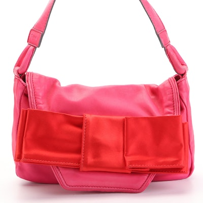 Chloé Flap Front Shoulder Bag in Pink Leather with Oversized Flat Bow