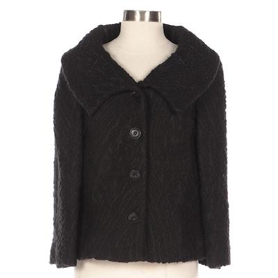 Valentino Black Wool Blend Sculpted Brocade Swing Jacket