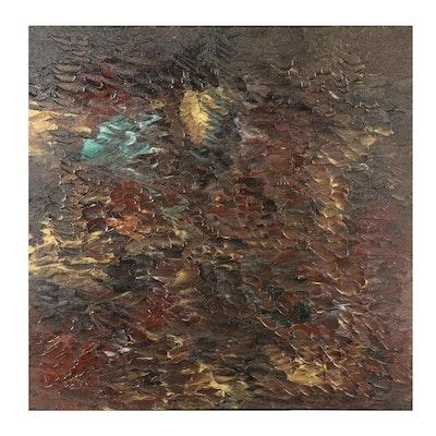 "Saul Gefen Abstract Acrylic Painting ""Rustic Scene,"" 2021"