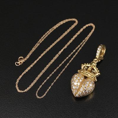 Barry Kieselstein-Cord 18K 1.00 CTW Diamond Royal Heart Pendant on 14K Necklace