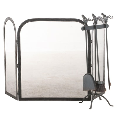 Iron Firescreen and Tool Set with Deer Heads