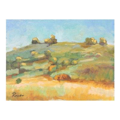 "Sally Rosenbaum Oil Painting ""October Lines,"" 21st Century"