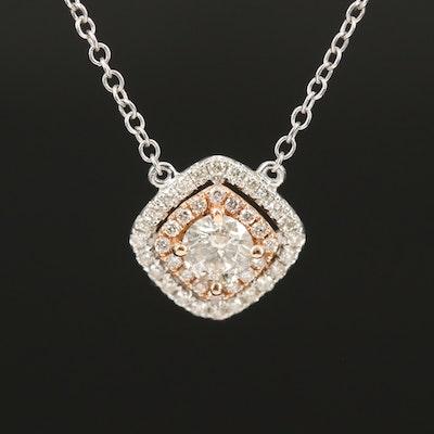 14K 0.56 CTW Diamond Double Halo Necklace