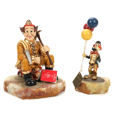 Ron Lee Fireman and Clown Figurines on Stone Bases