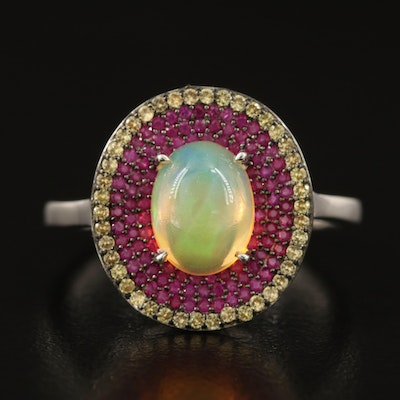 Sterling Opal, Ruby and Sapphire Triple Halo Ring