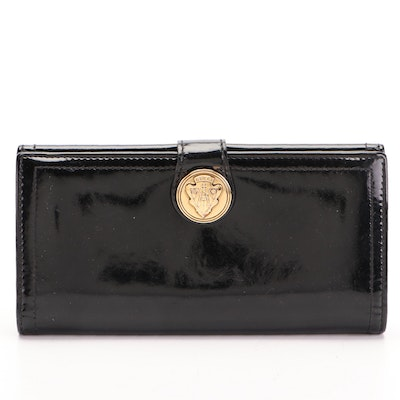 Gucci Hysteria Continental Wallet in Black Patent Leather