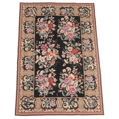 3'11 x 5'11 Handmade Floral Needlepoint Area Rug