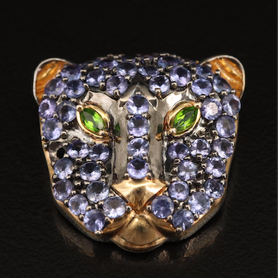 Sterling Diopside and Tanzanite Feline Pendant