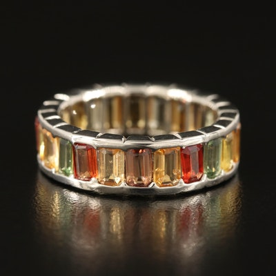 Sterling Multi-Color Sapphire Eternity Band