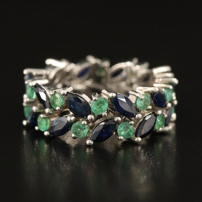 Sterling Sapphire and Emerald Infinity Band
