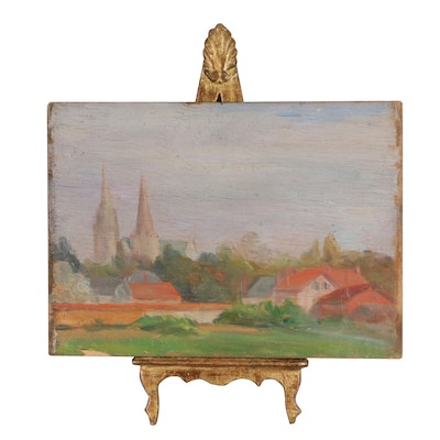 Double-Sided Landscape Oil Painting With Easel