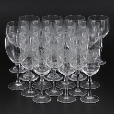 Libby Wine Glasses and Luminarc Goblets with Etched Wine Glasses