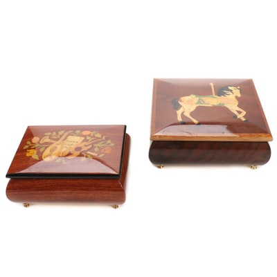 Two Inlaid Wood Musical Jewelry Boxes, Late 20th to 21st Century