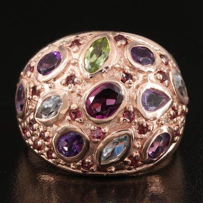 Sterling Silver Amethyst, Peridot and Sky Blue Topaz Dome Ring