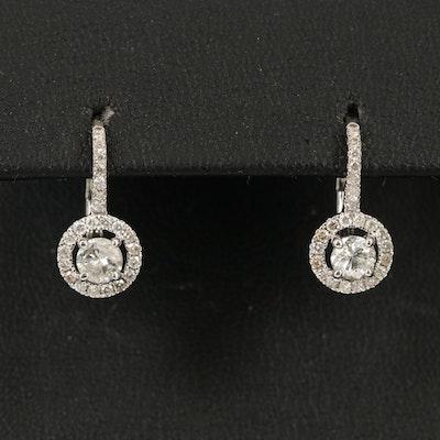 14K 1.09 CTW Diamond Halo Drop Earrings