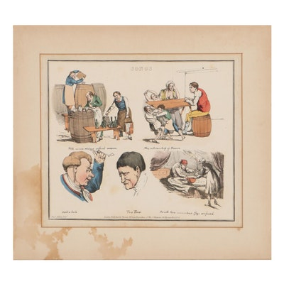 """Henry Alken Hand-Colored Etching From """"Illustrations to Popular Songs"""""""