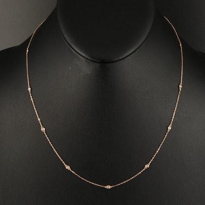 18K 0.24 CTW Diamond Bezel Station Necklace
