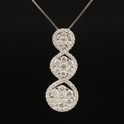 18K 1.48 CTW Diamond Graduated Cluster Pendant Necklace