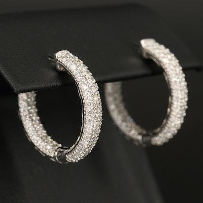 14K 2.12 CTW Diamond Inside Out Hoop Earrings