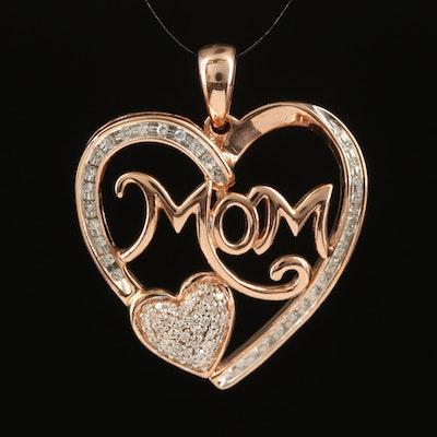 10K 0.24 CTW Diamond 'Mom' Heart Pendant