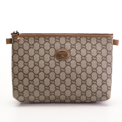 Gucci Plus GG Coated Canvas and Leather Trim Zip Pouch