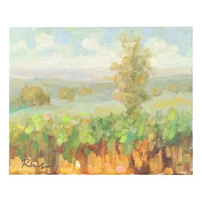 "Sally Rosenbaum Landscape Oil Painting ""Fall in Napa"""
