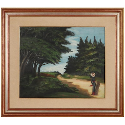 Landscape Oil Painting of Woman on Country Road, 1938