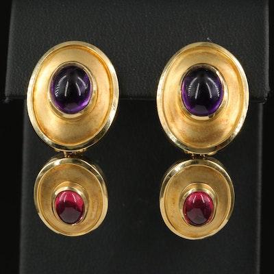 Susan Sadler 18K Amethyst and Pink Toumaline Drop Earrings