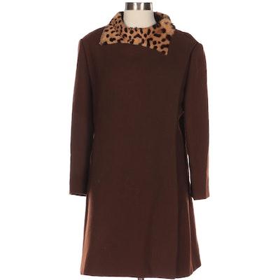 Evans Asymmetrical Knit Coat with Dyed Calf Hair Trim