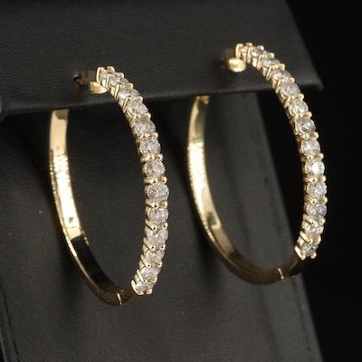 14K 4.02 CTW Diamond Hoop Earrings