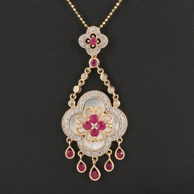 14K Diamond, Ruby and Mother of Pearl Quatrefoil Pendant Necklace