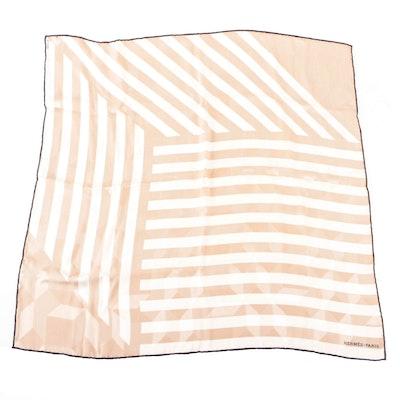 Hermès Striped Silk Jacquard Scarf 65 with Box