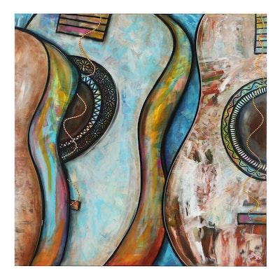 """Amy Baca Lopez Mixed Media Painting """"Three Kings of Harmony"""""""